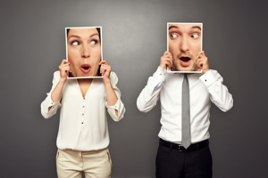 Style Shift. man and woman holding surprised faces photos